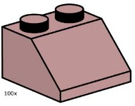 LEGO Bulk Bricks 10114 2 x 2 Sand Red Roof Tile